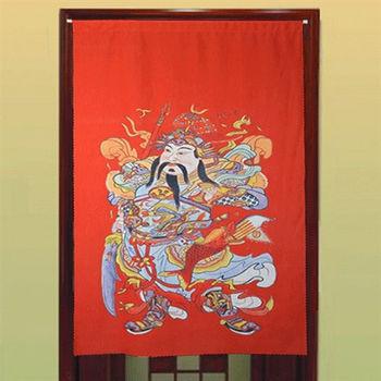 【協貿】中國風水高檔防蚊門神紅色布藝門簾