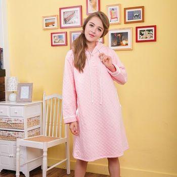 【MFN蜜芬儂】簡約素色帽T式夾層棉洋裝(粉紅)
