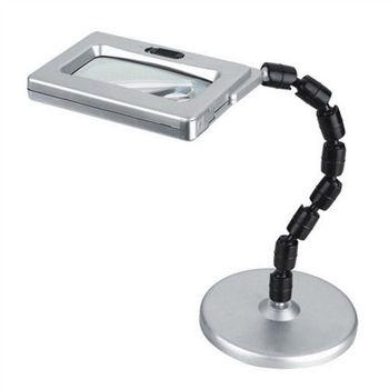 3LED 多角度彎折桌立式高倍數子母鏡放大鏡(MG3B-2)