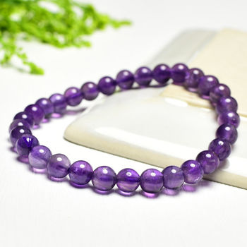 【東方翡翠寶石】紫水晶天然玉石珠串手環 (紫色,珠徑約6mm)OPB035