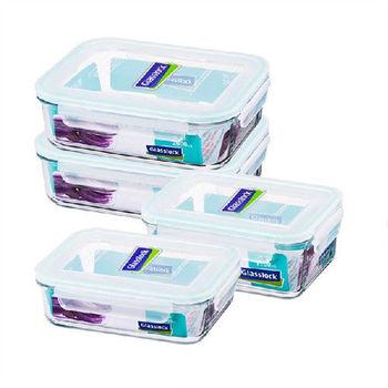 Glasslock強化玻璃保鮮盒大容量保鮮4件組便當盒