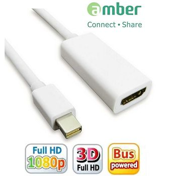 【amber】mini DidplayPort 轉 HDMI 訊號轉換器 mini DP轉HDMI 螢幕線 支援蘋果 聯想 DELL 筆電 mini DP 顯示卡