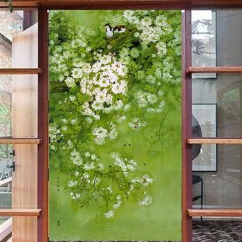 【協貿】田園高檔綠色清新棉麻雙棲布藝門簾