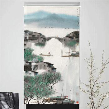 【協貿】高檔印花插畫風棉麻夢里水鄉圖布藝門簾
