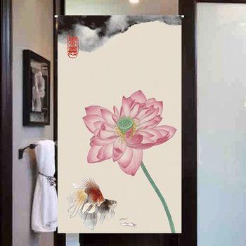 【協貿】高檔印花插畫風棉麻荷花濃墨圖布藝門簾