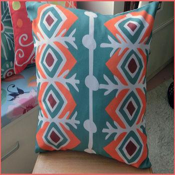 【協貿】波西米亞民族風棉麻綠色抽象布藝抱枕套
