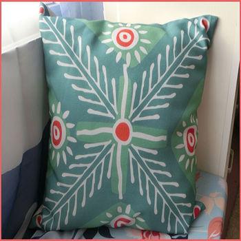【協貿】波西米亞民族風棉麻綠色小太陽布藝抱枕套