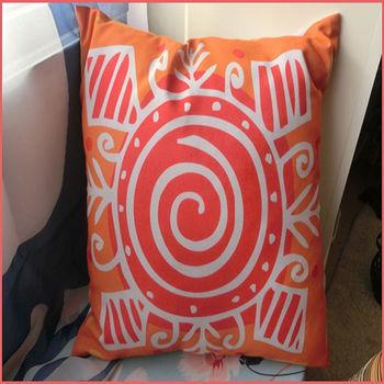 【協貿】波西米亞民族風棉麻橘色太陽布藝抱枕套