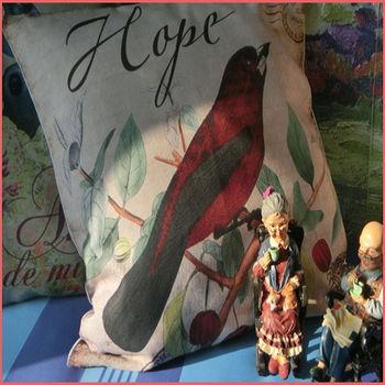 【協貿】簡約現代鄉村插畫紅色小鳥布藝方形抱枕套