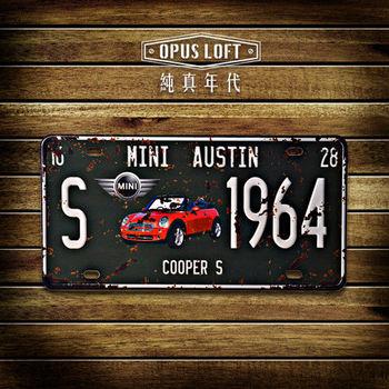 【OPUS LOFT純真年代】仿舊鐵皮車牌/壁飾/裝飾車牌/裝飾壁畫/壁貼(mini cooper )