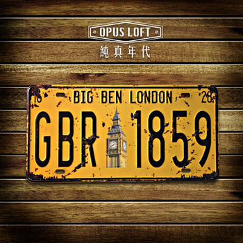 【OPUS LOFT純真年代】仿舊鐵皮車牌/壁飾/裝飾車牌/裝飾壁畫/壁貼(倫敦大笨鐘)