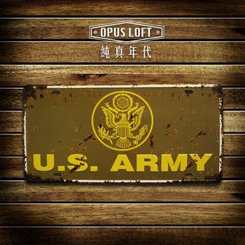 【OPUS LOFT純真年代】仿舊鐵皮車牌/壁飾/壁貼/掛畫/擺飾/裝飾品(美國陸軍)