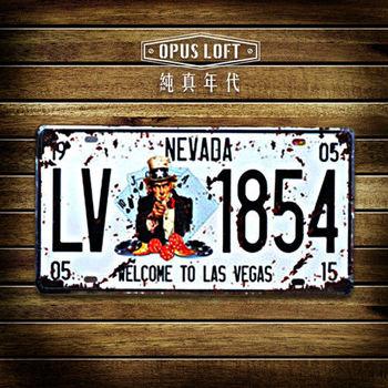 【OPUS LOFT純真年代】仿舊鐵皮車牌/壁飾/裝飾車牌/裝飾壁畫/壁貼(拉斯維加斯)