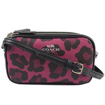 COACH 53421 馬車金屬LOGO防刮豹紋小巧雙層斜背包.紅/黑