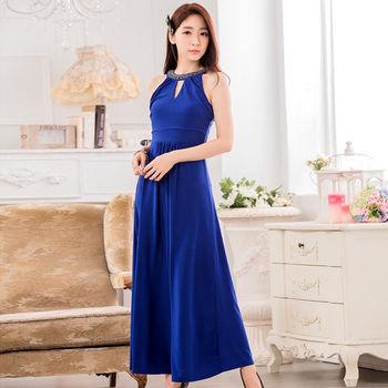 【白色戀人中大尺碼】藍色釘珠削肩收腰長禮服洋裝