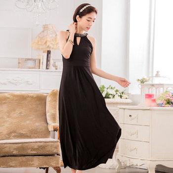 【白色戀人中大尺碼】黑色釘珠削肩收腰長禮服洋裝
