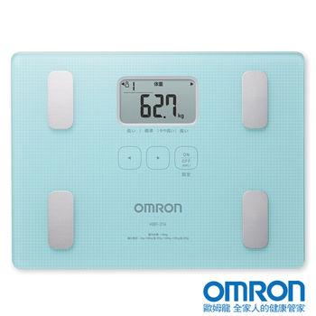 OMRON歐姆龍體重體脂計HBF-216藍色※送歐姆龍瑜珈伸展彈力繩