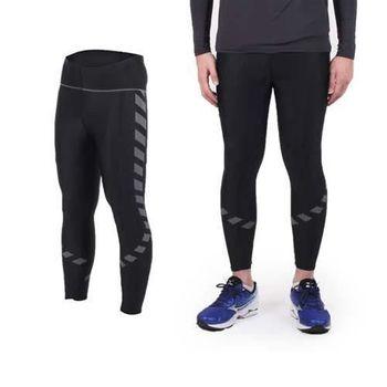 【SOFO】男女印花彈力緊身長褲-路跑 慢跑 瑜珈 黑銀  背後小口袋設計