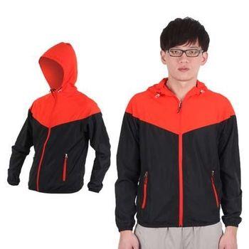 【SOFO】男拉鍊口袋連帽風衣外套-防風外套 橘紅黑
