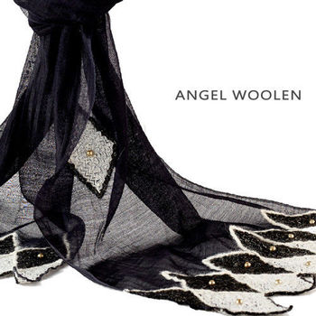 【ANGEL WOOLEN】黑色的黎明印度手工披肩