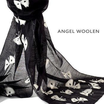 【ANGEL WOOLEN】蝶舞(黑色) 印度手工披肩