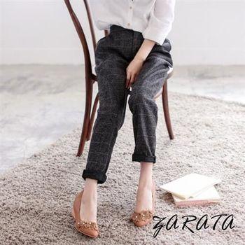 【ZARATA】雙釦壓折格子紋老爺褲(淺灰色)