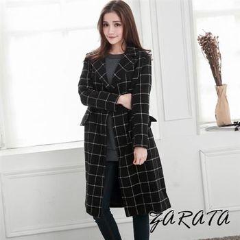 【ZARATA】西裝壓領撞色格紋長版開襟式大衣(黑色)