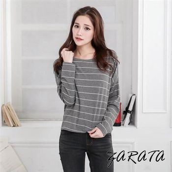 【ZARATA】圓領素色橫條紋寬鬆短版上衣(灰色)