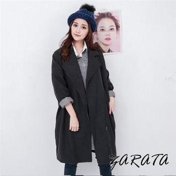 【ZARATA】壓折開襟拉鍊口袋長版大衣(黑色)