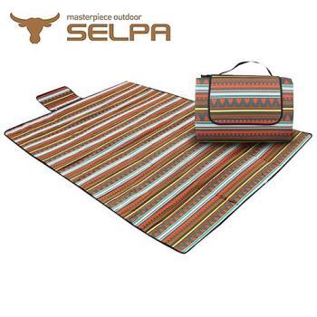 【韓國SELPA】防水雙面可用繽紛野餐墊 (加大型)
