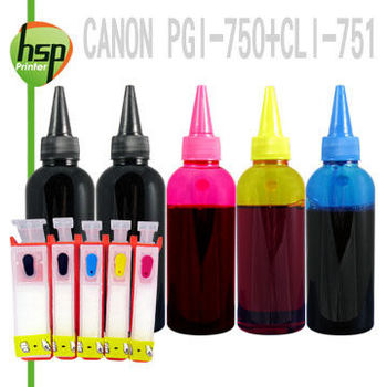 CANON PGI-750+CLI-751 空匣+晶片+寫真100cc墨水組(一黑防水) 五色 填充式墨水匣 MG5670