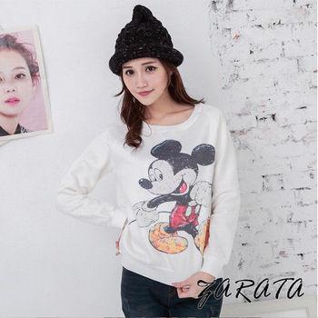 【ZARATA】圓領彩繪老鼠圖案長袖T恤(白色)