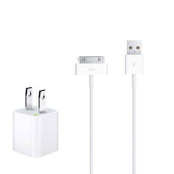 Apple iPhone/iPad 原廠5W USB 旅行充電器+30 pin 對 USB 連接線組(1公尺) (綠標-台灣電檢)