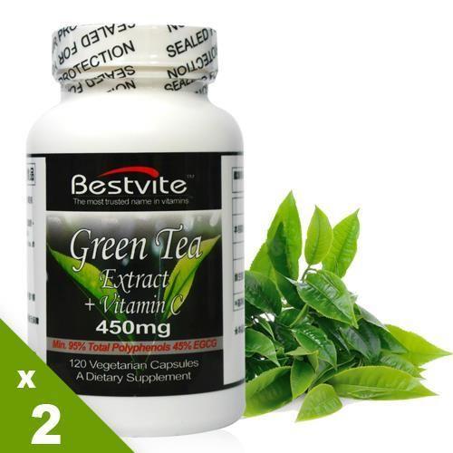【美國BestVite】必賜力綠茶萃取+左旋C膠囊2瓶組 (120顆*2瓶)