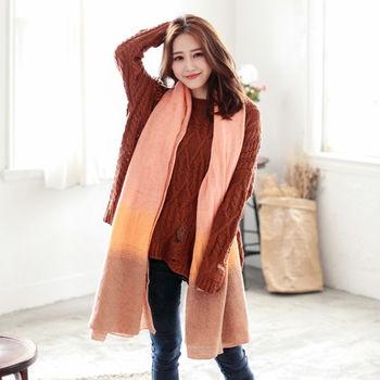 【ZARATA】漸層色系混羊毛料圍巾披肩(粉橘咖)