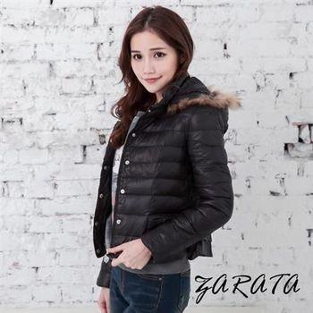 【ZARATA】開襟式壓橫條紋連帽羽絨短版外套(黑色)