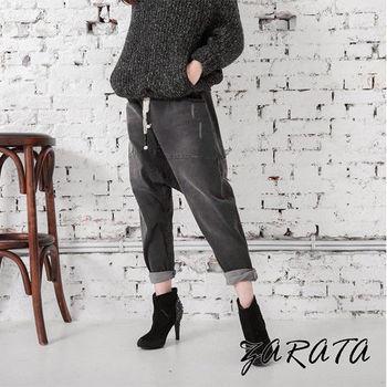 【ZARATA】鬆緊綁帶刷舊哈倫寬管牛仔褲(黑灰色)