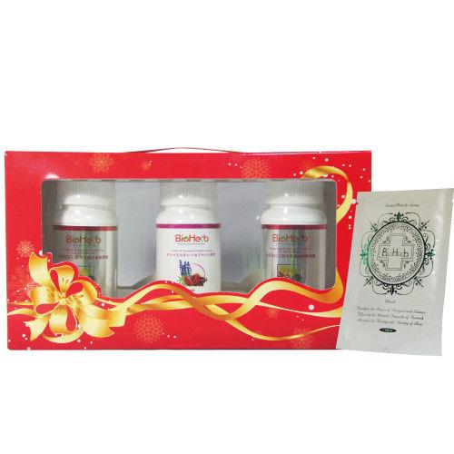 【碧荷柏】美魔女保健禮盒(紅石榴西番蓮黃銅膠囊x2+蔓越莓舒泌膠囊x1)_加贈超導面膜1片