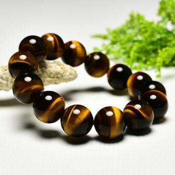 【東方翡翠寶石】黃虎眼石天然玉石珠串手環 (黃色,珠徑約13.5mm)OTY003