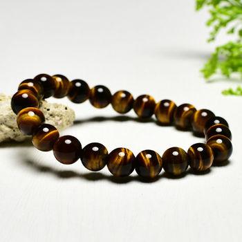 【東方翡翠寶石】黃虎眼石天然玉石珠串手環 (黃色,珠徑約7.5mm)OTY022