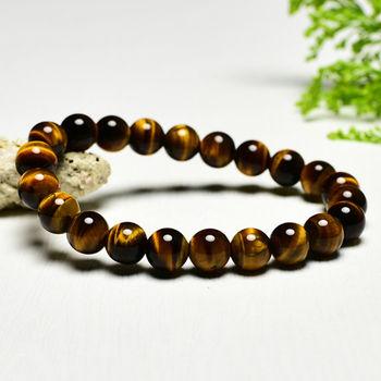【東方翡翠寶石】黃虎眼石天然玉石珠串手環 (黃色,珠徑約7.5mm)OTY021