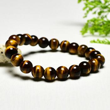 【東方翡翠寶石】黃虎眼石天然玉石珠串手環 (黃色,珠徑約8mm)OTY020