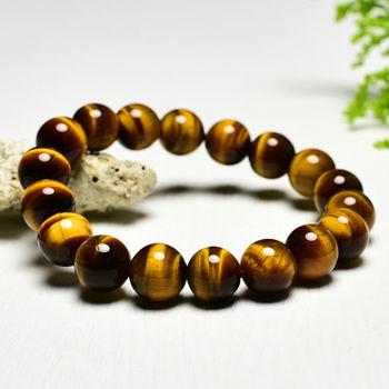 【東方翡翠寶石】黃虎眼石天然玉石珠串手環 (黃色,珠徑約10mm)OTY015