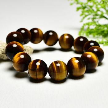 【東方翡翠寶石】黃虎眼石天然玉石珠串手環 (黃色,珠徑約14.5mm)OTY007