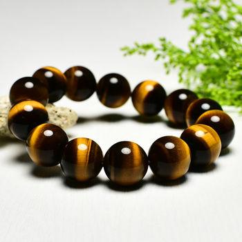 【東方翡翠寶石】黃虎眼石天然玉石珠串手環 (黃色,珠徑約14mm)OTY006