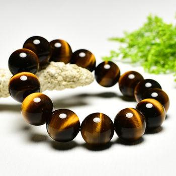 【東方翡翠寶石】黃虎眼石天然玉石珠串手環 (黃色,珠徑約14mm)OTY004