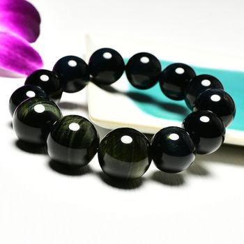 【東方翡翠寶石】藍虎眼石天然玉石珠串手環 (深藍色帶黃色,珠徑約16~18mm)OBE011