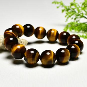 【東方翡翠寶石】黃虎眼石天然玉石珠串手環 (黃色,珠徑約14.5mm)OTY027