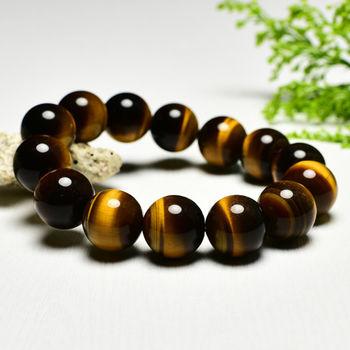 【東方翡翠寶石】黃虎眼石天然玉石珠串手環 (黃色,珠徑約14mm)OTY025