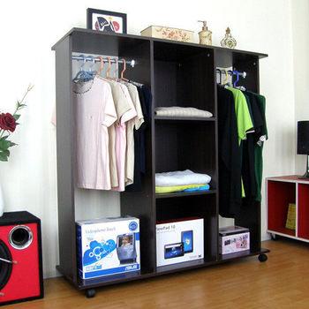 【頂堅】[雙桿+三大格]吊衣櫃/吊衣櫥(附有背板設計)-深胡桃木色